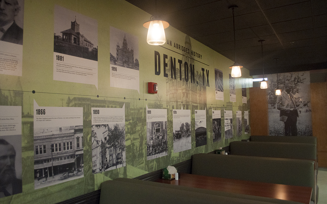 Custom wallpaper with an abridged history of Denton, TX.
