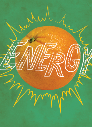 Wall graphic. Photo of an orange with the word 'energy' sketched on top.