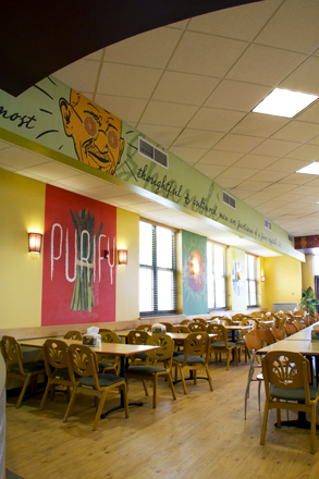 Interior wall graphics for Mean Greens Cafeteria