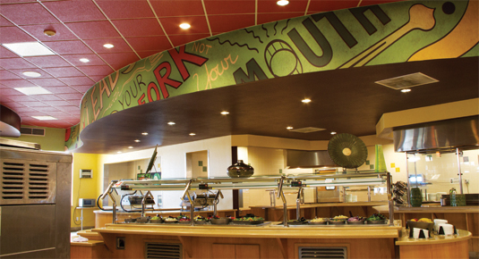 'Lead with your fork, not your mouth' graphic for salad bar overhang