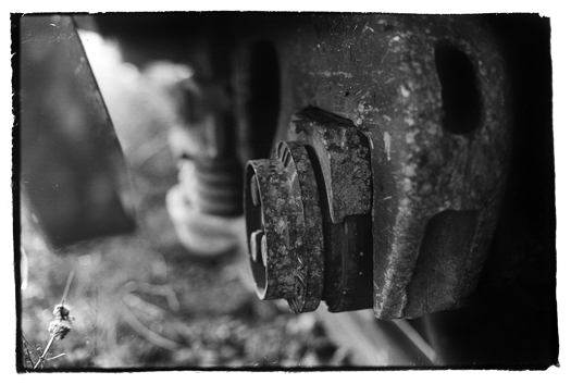 Closeup of train wheels photo