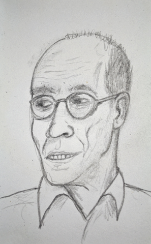 Graphite sketch of Erik Spiekermann