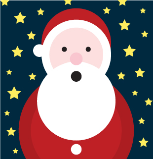 Computer illustration of Santa Clause using only circles and stars