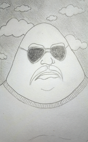 Graphite sketch of a large, cartoon-like man
