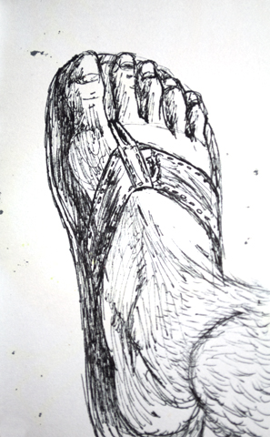 Pen sketch of my foot in a sandal